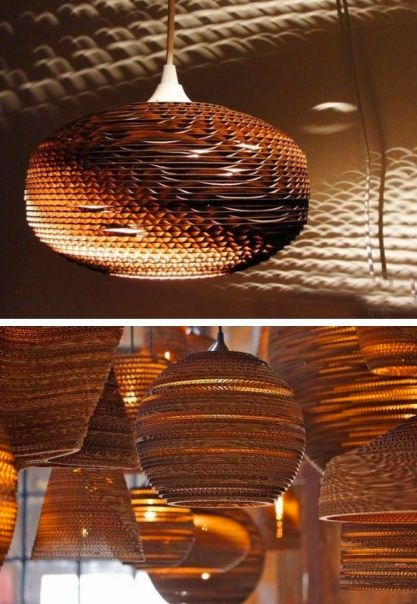 Beautiful-corrugated-paper-chandelier-lampshade