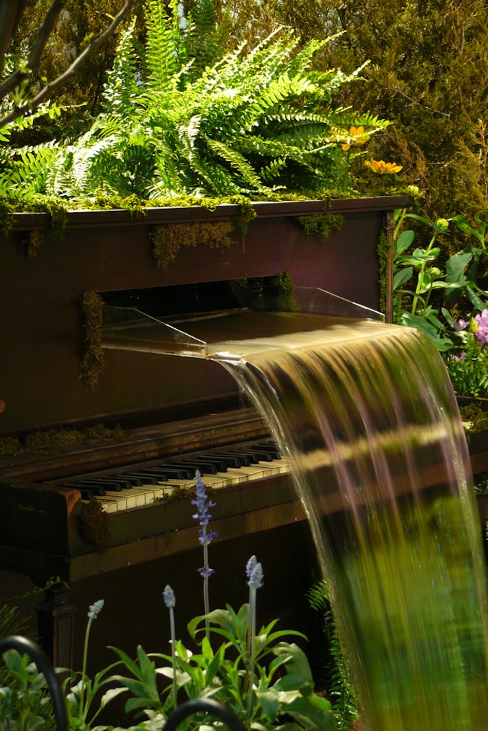 Repurposed piano fountain Used Pianos Repurposed Into Home Decor Masterpieces in sustainability 2 design with Reused Repurposed Piano