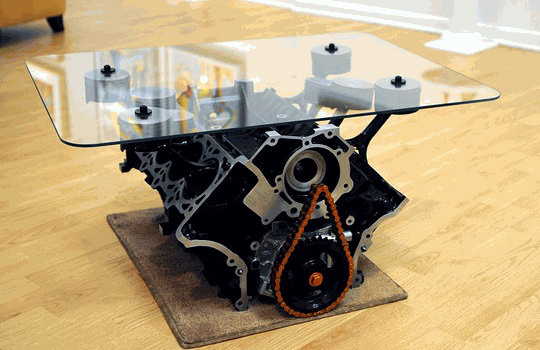 15 Outstanding Coffee Tables Made from Old Engine Blocks