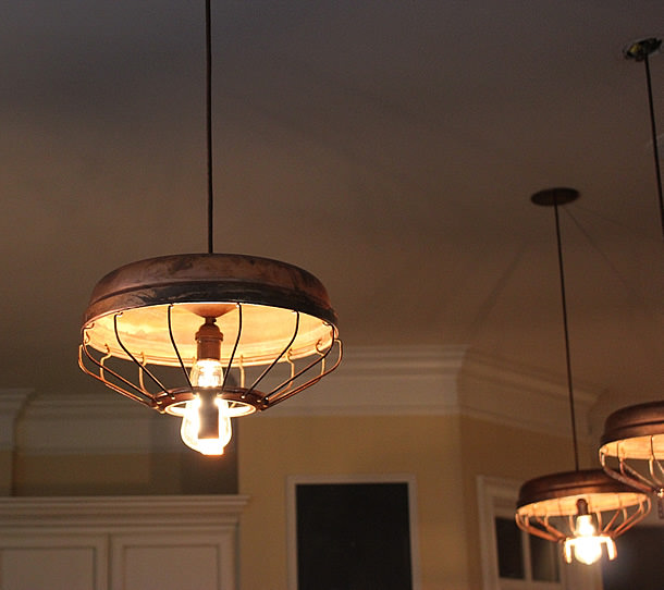 Chicken feeder upcycled into pendant light by southern for Diy chicken feeder light