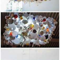 Recycled light bulbs chandelier