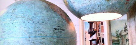 Old globes turned into pendant lamps