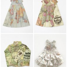 Dresses from folded maps by Elisabeth Lecourt