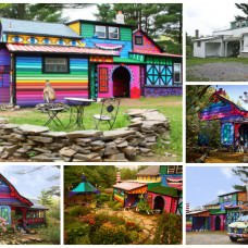 Rainbow Colored House in the Woods