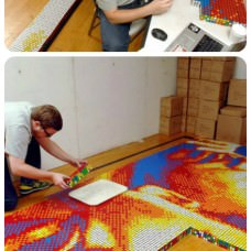 Mosaic made of 4,242 Rubik's Cubes