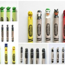 Pop-Culture Characters From Carved Wax Crayons By Hoang Tran