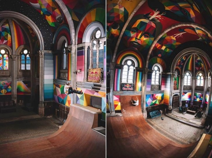 Colorful Skatepark Inside A Church Creative Spotting