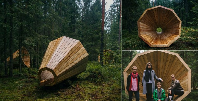 Giant-Wooden-Megaphones-In-A-Forest-To-Amplify-The-Sounds-Of-Nature