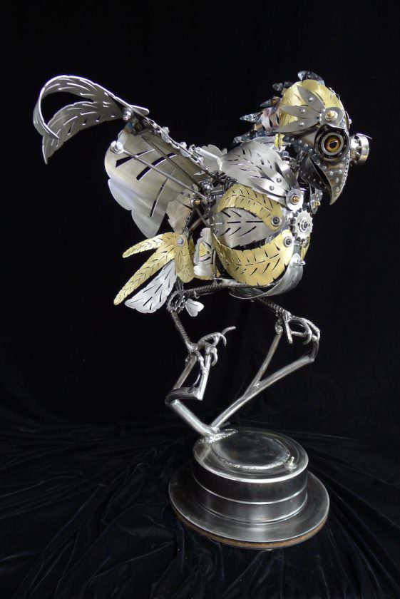 kinetic animal sculptures from recovered metal creative