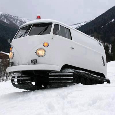 Snow Tracks from Vw Van Funny