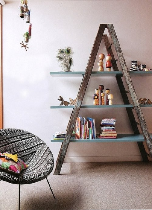 Upcycled Ladder Into Shelves Design Sustainability