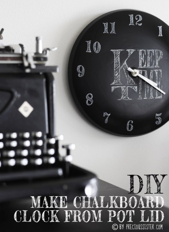 Diy: Chalkboard Clock From Pot Lid DIY + Crafts