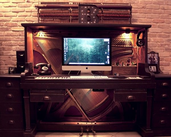 Old Piano Upcycled into Awesome Desk Design Sustainability