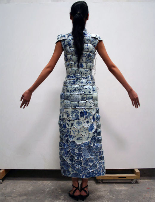 Broken Chinese Ceramics Upcycled into Dresses by Li Xiaofeng Fashion + Trends Sustainability