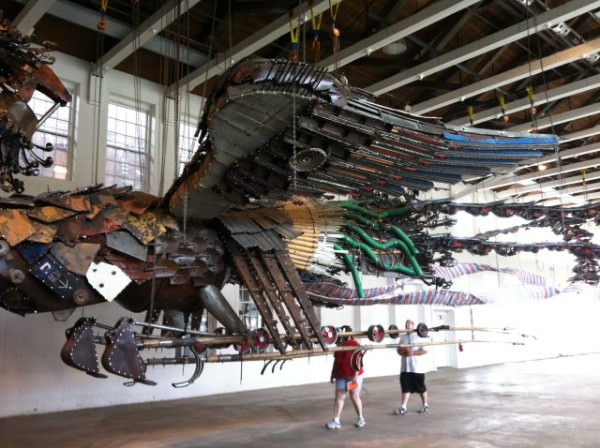 Installation Featuring Two Monumental Phoenixes Made Out Of Junk Materials Art + Graphics Sustainability