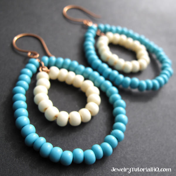 how to make beaded hoop earrings step by step