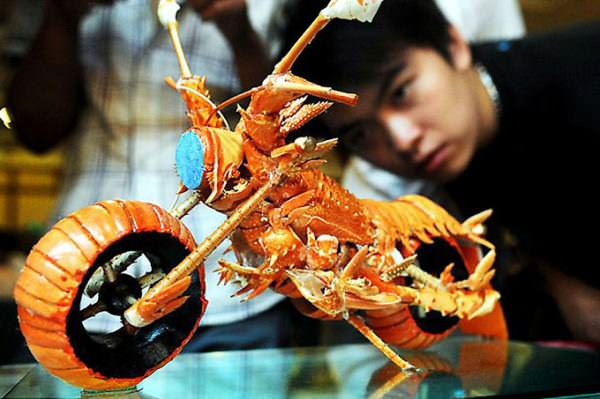 Miniature Motorcycles from Lobster Shells Creative Fooding