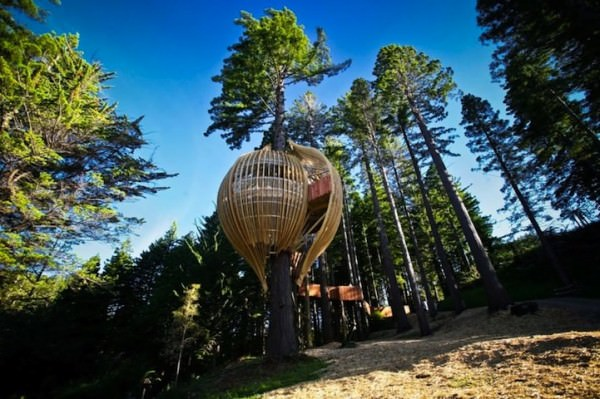 Stunning Tree House Restaurant Suspended 130-feet Above Ground Architecture + Interiors
