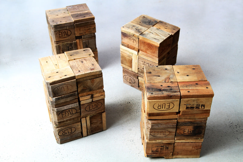 Stools Made From Recycled Pallet Wooden Blocks Gift