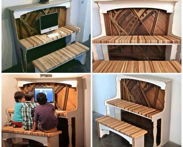 Reclaimed Piano Into Amazing Desk