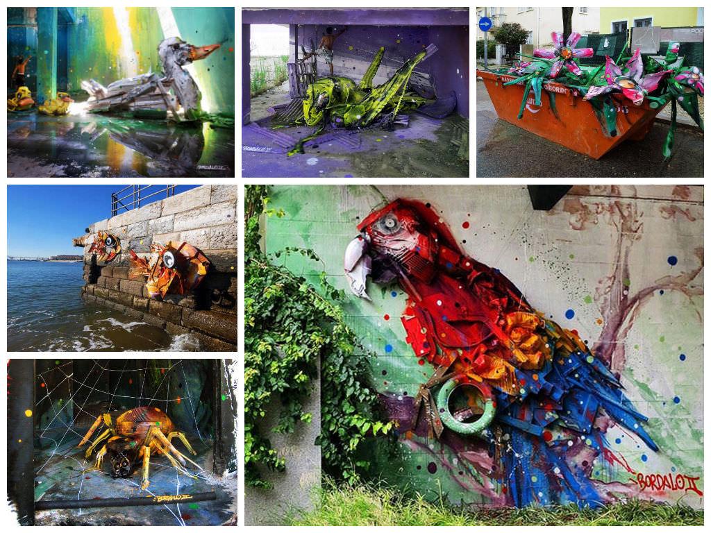 trash turned into street art by artur bordalo