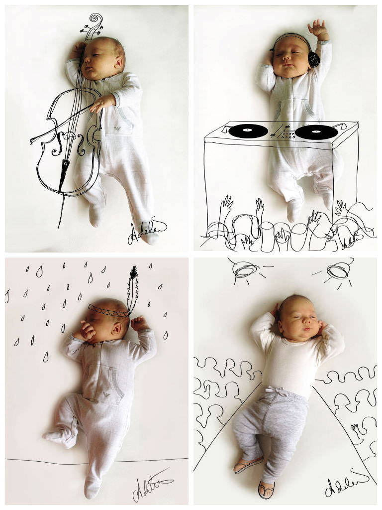 Baby's Photos With Cute Pen Drawings by Adele Emersen ...