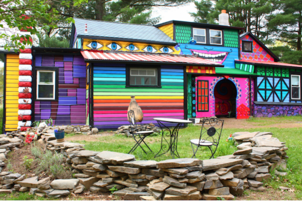 Rainbow Colored House in the Woods Architecture + Interiors