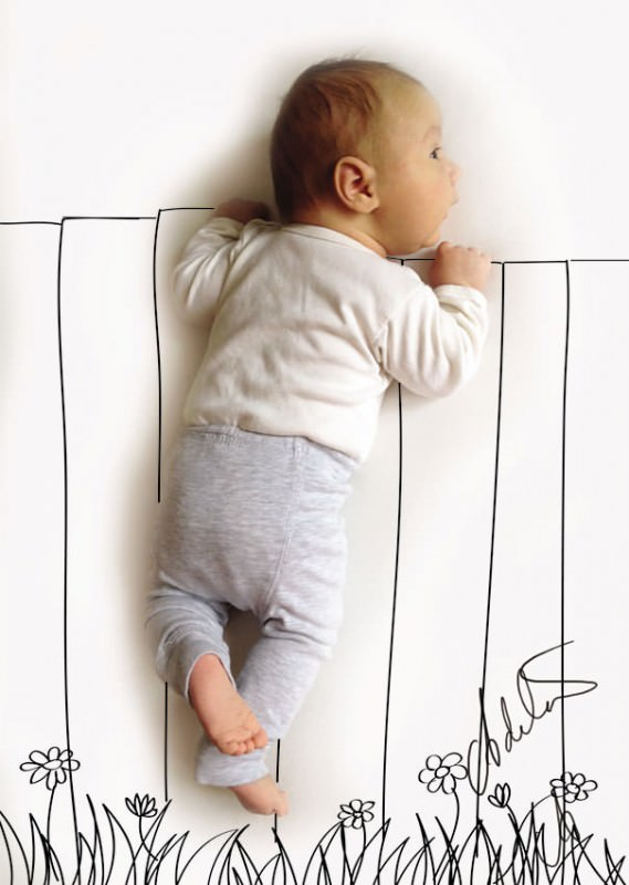 Baby's Photos With Cute Pen Drawings by Adele Emersen Art + Graphics Photography