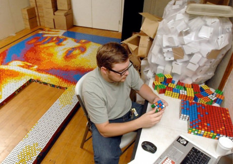 Mosaic Made of 4,242 Rubik's Cubes Art + Graphics