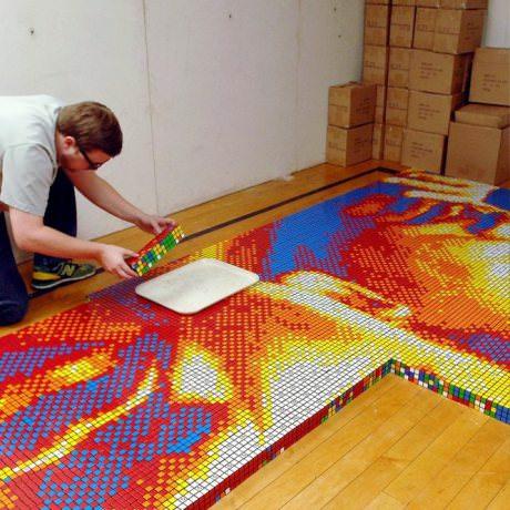 Mosaic Made of 4,242 Rubik's Cubes Art + Graphics