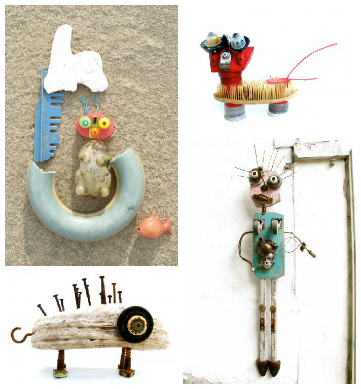 Recycled beach trash art gift ideas creative spotting for Creative art from waste