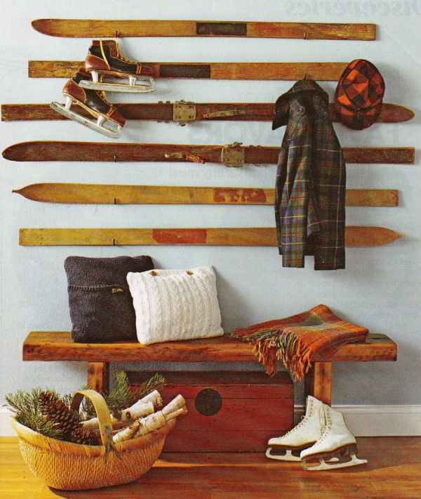Old Skis Repurposed into Coat Hanger Architecture + Interiors DIY + Crafts