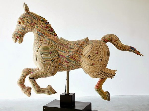 Reclaimed Skateboard Horse Sculpture by Haroshi Art + Graphics Sustainability
