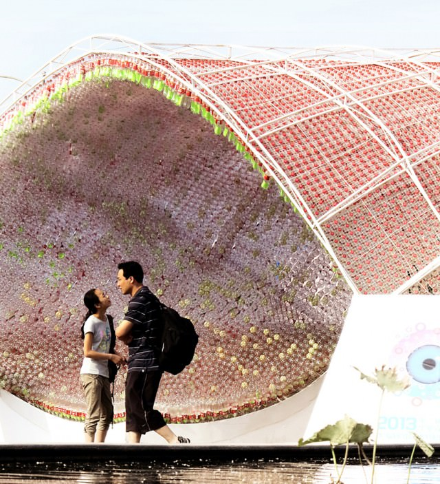 Upcycled Coca Cola Plastic Bottle Pavilion Architecture + Interiors Sustainability