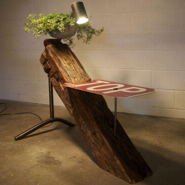 Reclaimed Beam Into Table Lamp Design