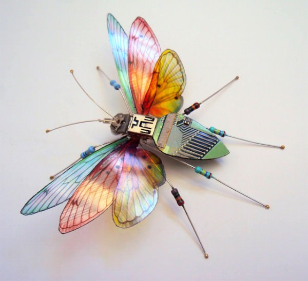 Insects Made of Upcycled Circuit Boards By Julie Alice Chappell Art + Graphics Sustainability