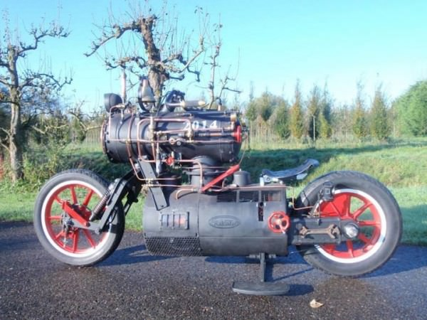 Black Pearl, The Steam Engine Powered Motorcycle Art + Graphics Bike
