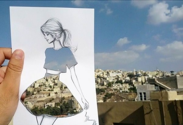 Paper Cut-out Sketches With Everyday Scenes by Shamekh Bluwi Fashion + Trends Photography