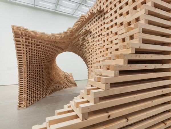 Wave Made from 9076 Individual Wooden Pieces by Hg-architecture Art + Graphics