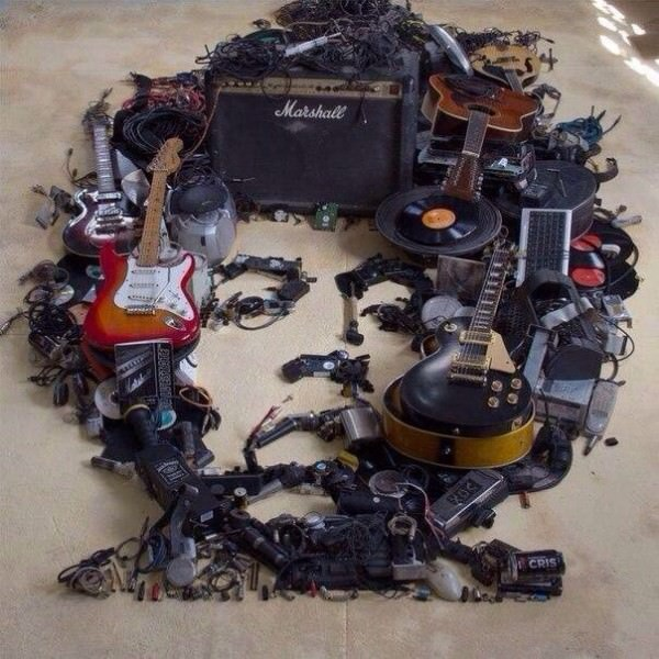 Jimi Hendrix Portrait Made Out Of Recycled Music Instruments Art + Graphics