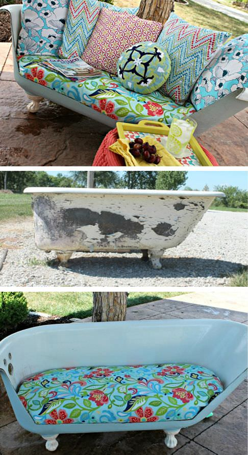 Old Bathtub Recycled Into a Design Sofa Design Sustainability