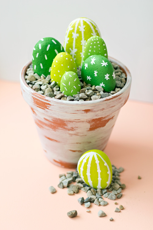 Diy: Painted Rock Cacti DIY + Crafts