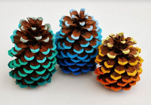 Dress Up Pine Cones With A Pop Of Colors DIY + Crafts