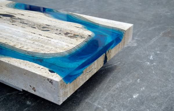 Amazing Lagoon Table Made From Merged Marble & Resin Design