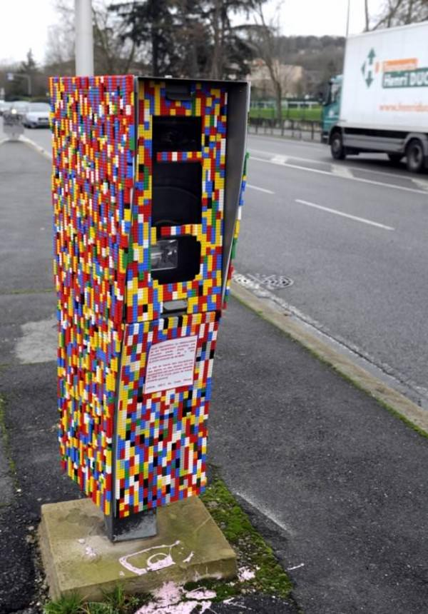 Artist Cover a Speed Radar with Lego in Toulouse (France) Art + Graphics