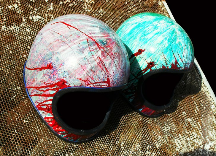 Painted Old Motorcycle Helmets Art + Graphics DIY + Crafts