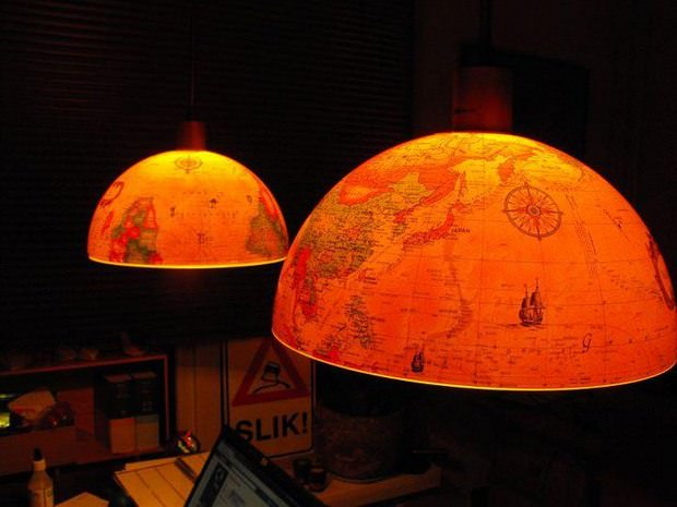 Upcycled World Globes as Gorgeous Pendant Lights Design Sustainability