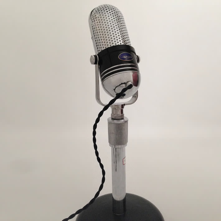 Retro Microphone into Desk Lamp by Microphonic Design Sustainability