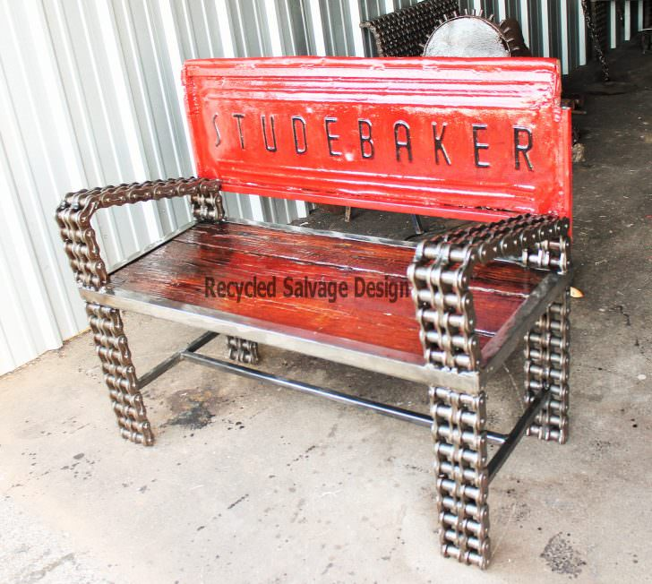 Recycled car parts into vintage benches gift ideas Custom furniture made car parts