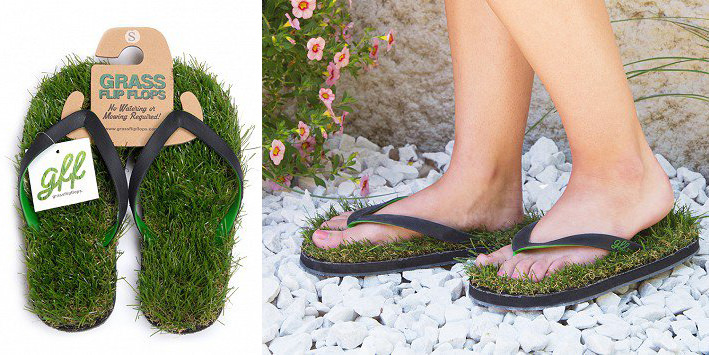Amazing Flip Flops with Grass Sole Fashion + Trends Funny